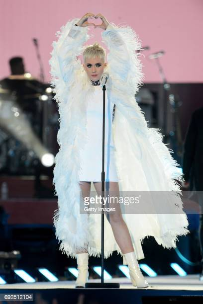 SALES free for editorial use In this handout provided by 'One Love Manchester' benefit concert Katy Perry performs on stage on June 4 2017 in...