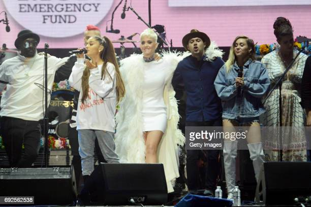 SALES free for editorial use In this handout provided by 'One Love Manchester' benefit concert william Taboo Ariana Grande Katy Perry Niall Horan...