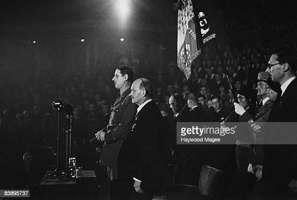 Free French leader General Charles de Gaulle addressing a meeting at the Royal Albert Hall London 28th November 1942 Next to him is T J Gueritte...