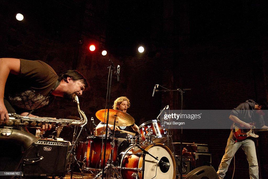 Free jazz band Cactus Truck (L-R) John Dikeman (sax), Onno Govaert (drums) and Jasper Stadhouders (gitaar), Brussels, Belgium, 16 December 2012.