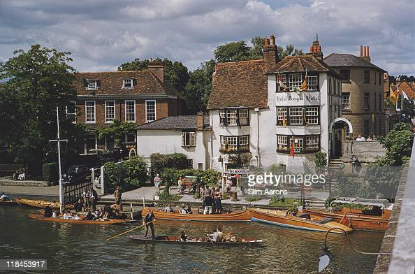 Free mooring at the Angel Hotel at HenleyonThames on the River Thames during the Henley Regatta 1955