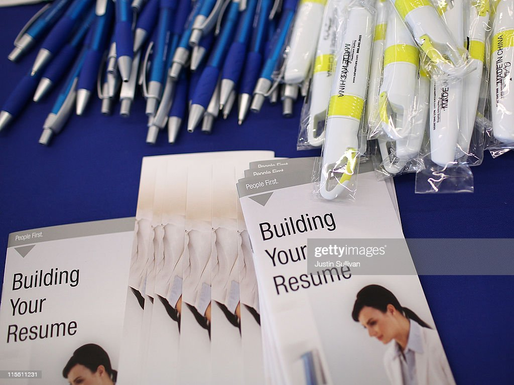 Free pens and resume building pamphlets are displayed during the Job Hunter's Boot Camp at College of San Mateo on June 7, 2011 in San Mateo, California. As the national unemployment rate sits at 9.1 percent, U.S. Rep. Jackie Speier (D-CA) hosted a Job Hunter's Boot Camp that attracted hundreds of job seekers.