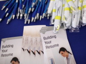 Free pens and resume building pamphlets are displayed during the Job Hunter's Boot Camp at College of San Mateo on June 7 2011 in San Mateo...