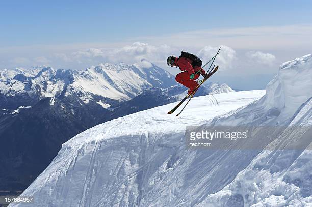 Free ride skier in extreme jump