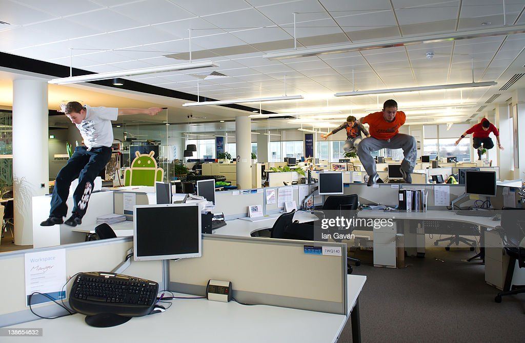 Free runners '3run' take advantage of O2's empty Slough HQ on the company's flexible working day on February 8, 2012 in Slough, England. O2 announced the launch of the biggest flexible working initiative of its kind. Today, employees based at the O2 Slough HQ, a quarter of its 12,000 strong workforce will participate in a flexible working pilot, operating remotely for the day as the doors are shut and lights turned off at the business' 200,000 sq ft office.