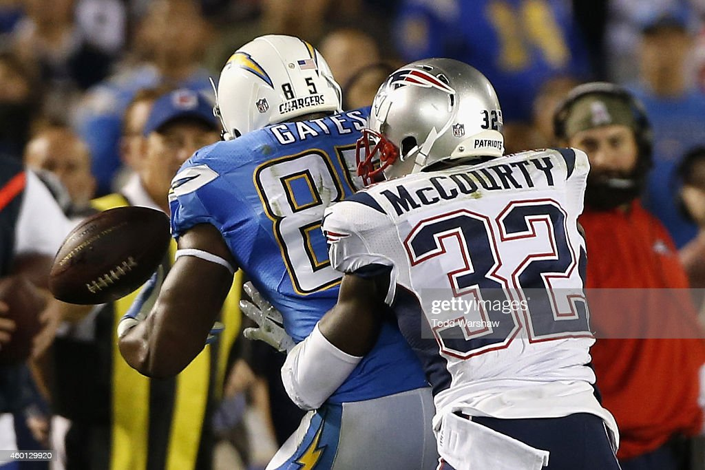 Free safety <a gi-track='captionPersonalityLinkClicked' href=/galleries/search?phrase=Devin+McCourty&family=editorial&specificpeople=4510365 ng-click='$event.stopPropagation()'>Devin McCourty</a> #32 of the New England Patriots breaks up a pass intended for tight end <a gi-track='captionPersonalityLinkClicked' href=/galleries/search?phrase=Antonio+Gates&family=editorial&specificpeople=184491 ng-click='$event.stopPropagation()'>Antonio Gates</a> #85 of the San Diego Chargers at Qualcomm Stadium on December 7, 2014 in San Diego, California.