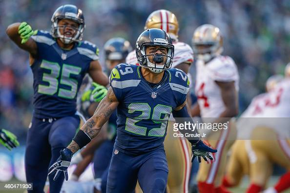 Free safety Earl Thomas of the Seattle Seahawks celebrates a defensive stand in the third quarter against the San Francisco 49ers at CenturyLink...