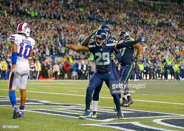 Free safety Earl Thomas of the Seattle Seahawks celebrates after helping break up a touchdown play in the final moments against the Buffalo Bills at...