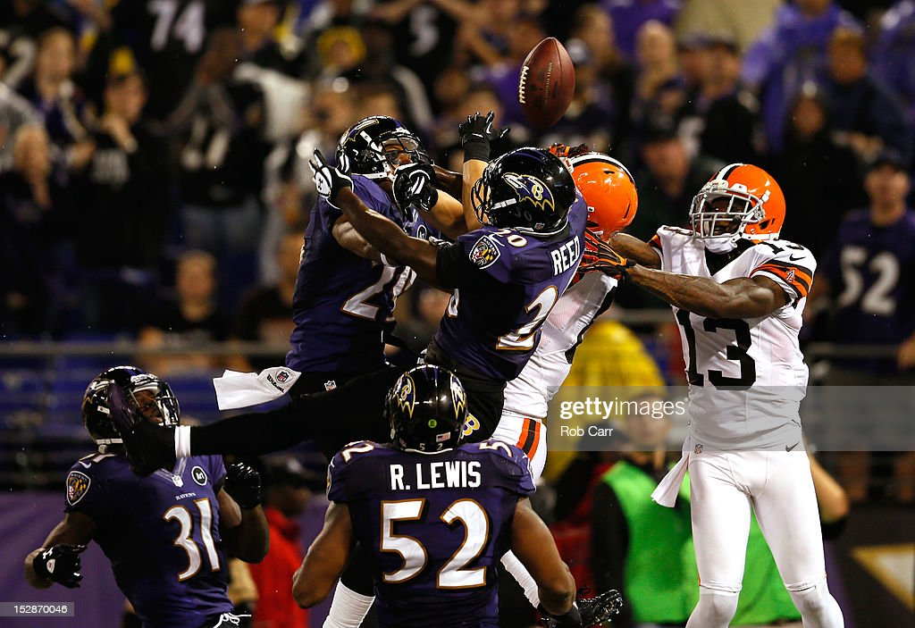 Free safety <a gi-track='captionPersonalityLinkClicked' href=/galleries/search?phrase=Ed+Reed&family=editorial&specificpeople=194933 ng-click='$event.stopPropagation()'>Ed Reed</a> #20 of the Baltimore Ravens breaks up a pass in the end zone intended for tight end Jordan Cameron #84 of the Cleveland Browns late in the fourth quarter during the NFL Game at M&T Bank Stadium on September 27, 2012 in Baltimore, Maryland.