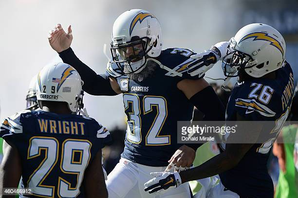 Free safety Eric Weddle cornerback Shareece Wright and cornerback Brandon Flowers of the San Diego Chargers participate in pregame introductions...