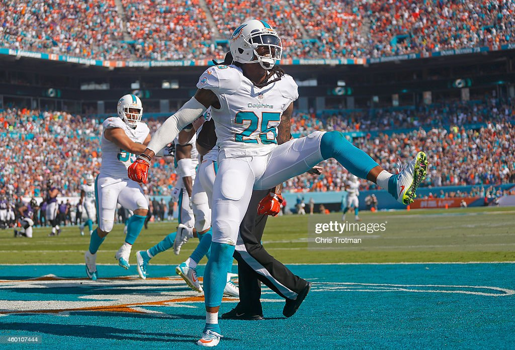 Free safety Louis Delmas #25 of the Miami Dolphins celebrates his team's interception in the second quarter of play against the Baltimore Ravens during a game at Sun Life Stadium on December 7, 2014 in Miami Gardens, Florida.