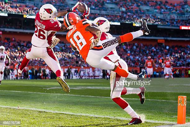 Free safety Rashad Johnson of the Arizona Cardinals intercept a pass intended for wide receiver Taylor Gabriel of the Cleveland Browns during the...