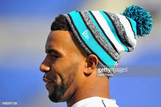 Free safety Thomas DeCoud of the Carolina Panthers stands on the field before a game against the Baltimore Ravens at MT Bank Stadium on September 28...