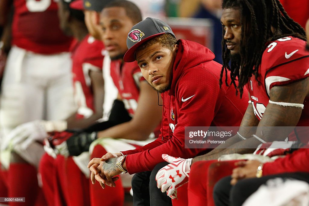 Free safety Tyrann Mathieu of the Arizona Cardinals on the sidelines during the NFL game against the Green Bay Packers at the University of Phoenix...