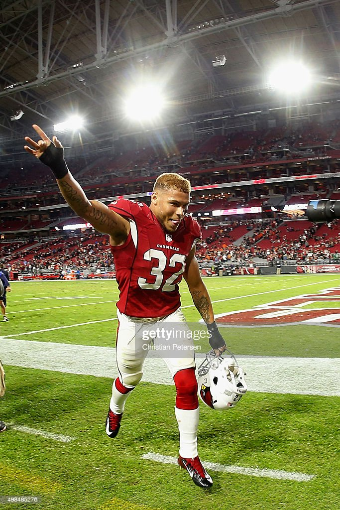Free safety Tyrann Mathieu of the Arizona Cardinals runs off the field following the NFL game against the Cincinnati Bengals at the University of...