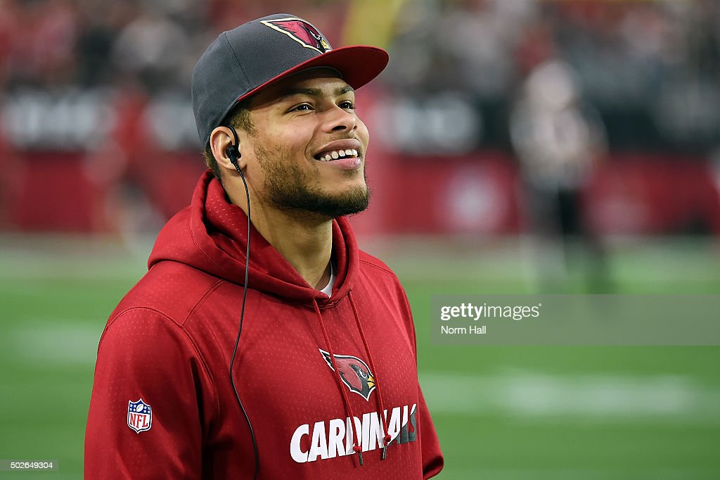 Free safety Tyrann Mathieu of the Arizona Cardinals smiles on the sidelines during the NFL game against the Green Bay Packers at University of...