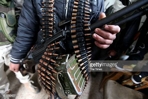 Free Syrian Army members at their base on April 21 in Darkoush Syria During the last week there have been 5 shelling incidents in the Northern side...