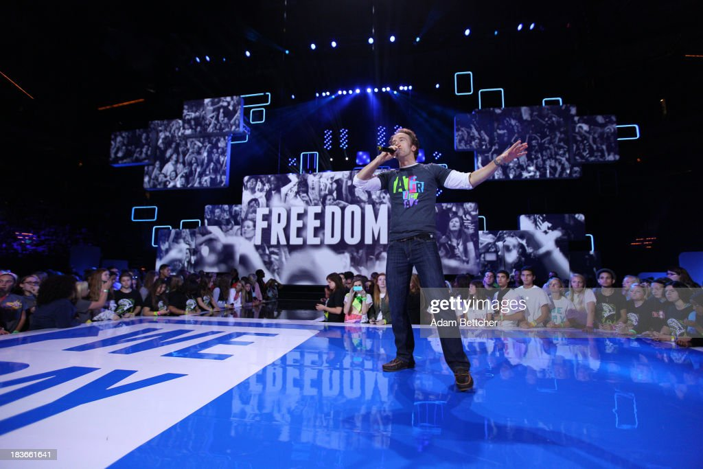 Free the Children Co-Founder Craig Kielburger speaks during the We Day Minnesota event at the Xcel Energy Center in St. Paul, Minnesota on October 8, 2013