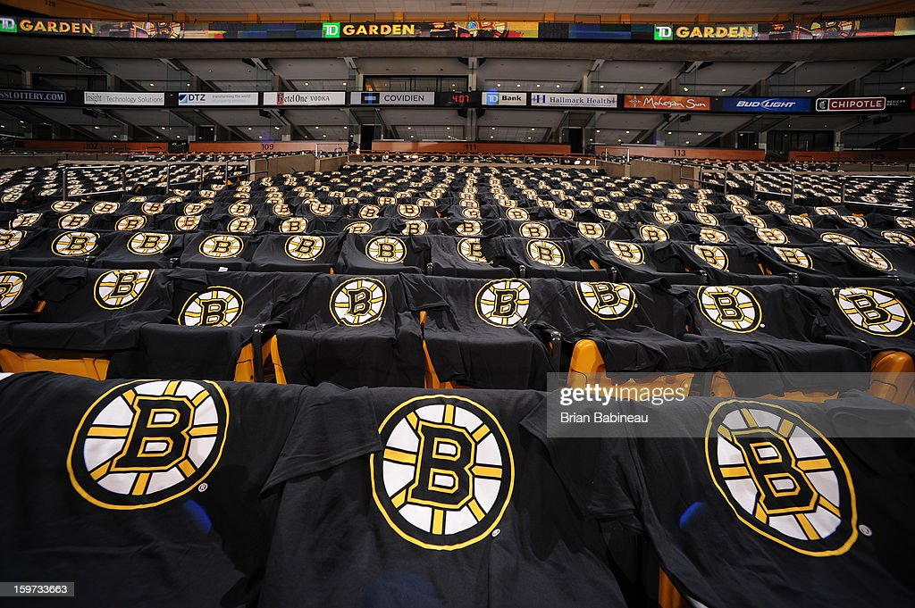 Free t-shirts await the fans of the Boston Bruins prior to the game against the New York Rangers at the TD Garden on January 19, 2013 in Boston, Massachusetts.
