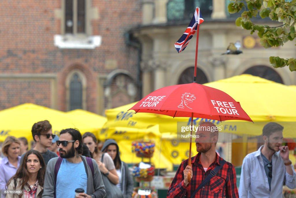 Free Walking Tour in Krakow's City Center. On Wednesday, August 22, 2017, in Krakow, Poland.