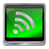 decorative glossy green free wireless wifi button – 3d illustration