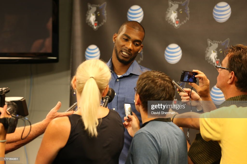 Free-agent acquisition Corey Brewer of the Minnesota Timberwolves speaks with the media on August 21, 2013 at Target Center in Minneapolis, Minnesota.