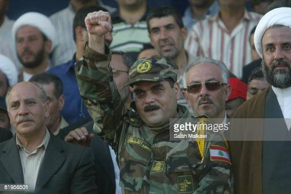 Freed Lebanese prisoner Samir Qantar greets the crowd upon his arrival from an Israeli prison as Hezbollah prepare to receive the bodies of 200...