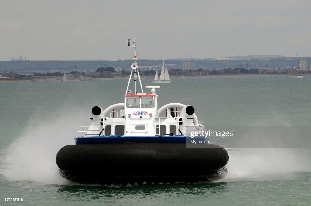 Freedom 90 a passenger carrying hovercraft crossing the Solent bound for Ryde Isle of Wight England UK