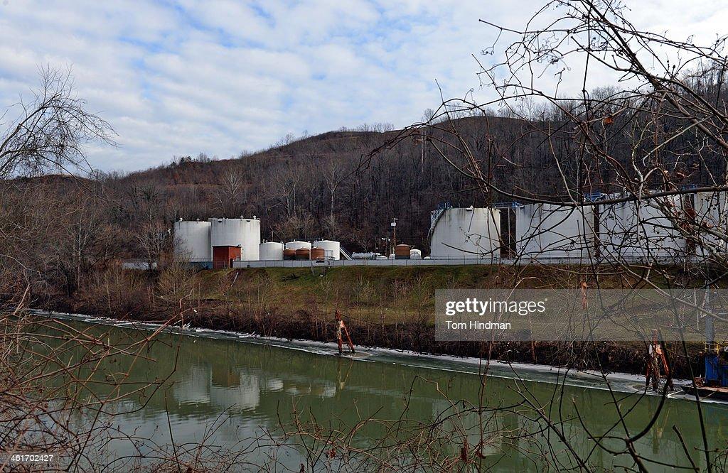 Freedom Industries on Barlow St on the banks of the Elk River is seen on January 10 2014 in Charleston West Virginia West Virginia American Water...