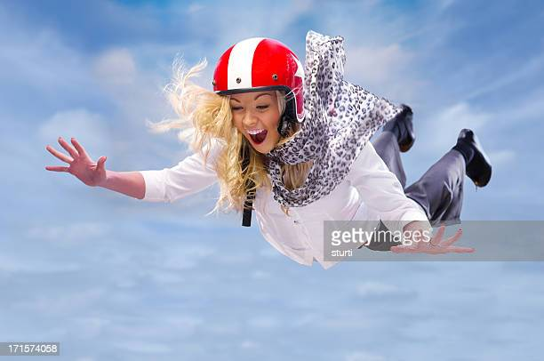 freefalling businesswoman