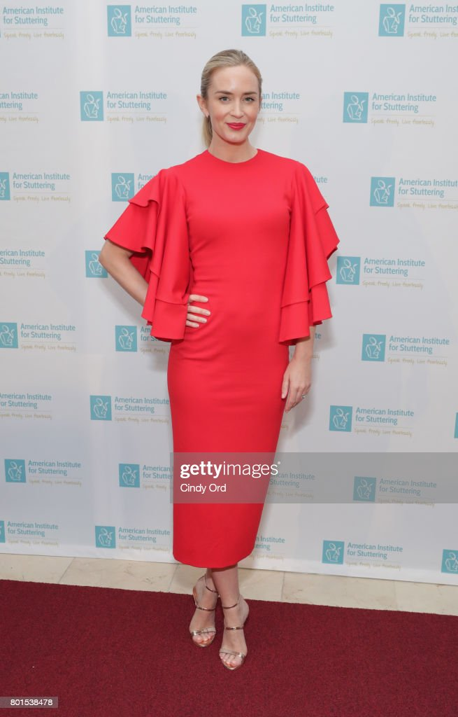 Freeing Voices Changing Lives Gala Host Emily Blunt attends the American Institute for Stuttering 11th Annual Freeing Voices Changing Lives Benefit Gala at Guastavino's on June 26, 2017 in New York City.