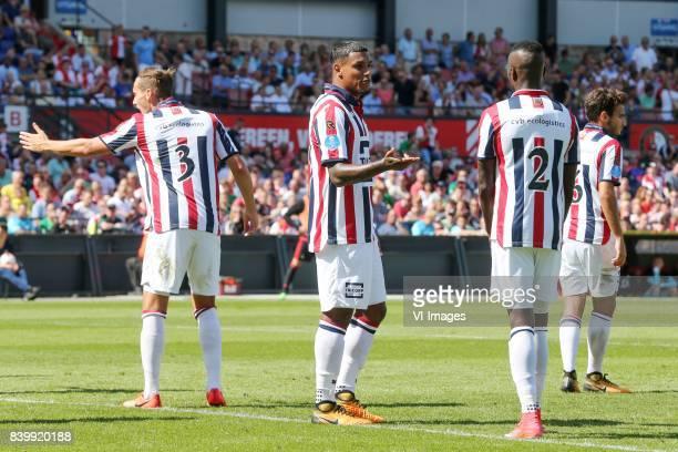 Freek Heerkens of Willem II Darryl Lachman of Willem II Fernando Lewis of Willem II during the Dutch Eredivisie match between Feyenoord Rotterdam and...