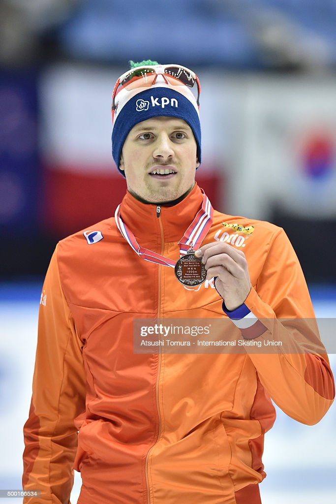 <a gi-track='captionPersonalityLinkClicked' href=/galleries/search?phrase=Freek+Van+Der+Wart&family=editorial&specificpeople=4954846 ng-click='$event.stopPropagation()'>Freek Van Der Wart</a> of Netherland poses with his bronze medal after the men 1000m finals on day three of the ISU World Cup Short Track Speed Skating 2015 Nagoya at the Nippon Gaishi Arena on December 6, 2015 in Nagoya, Japan.