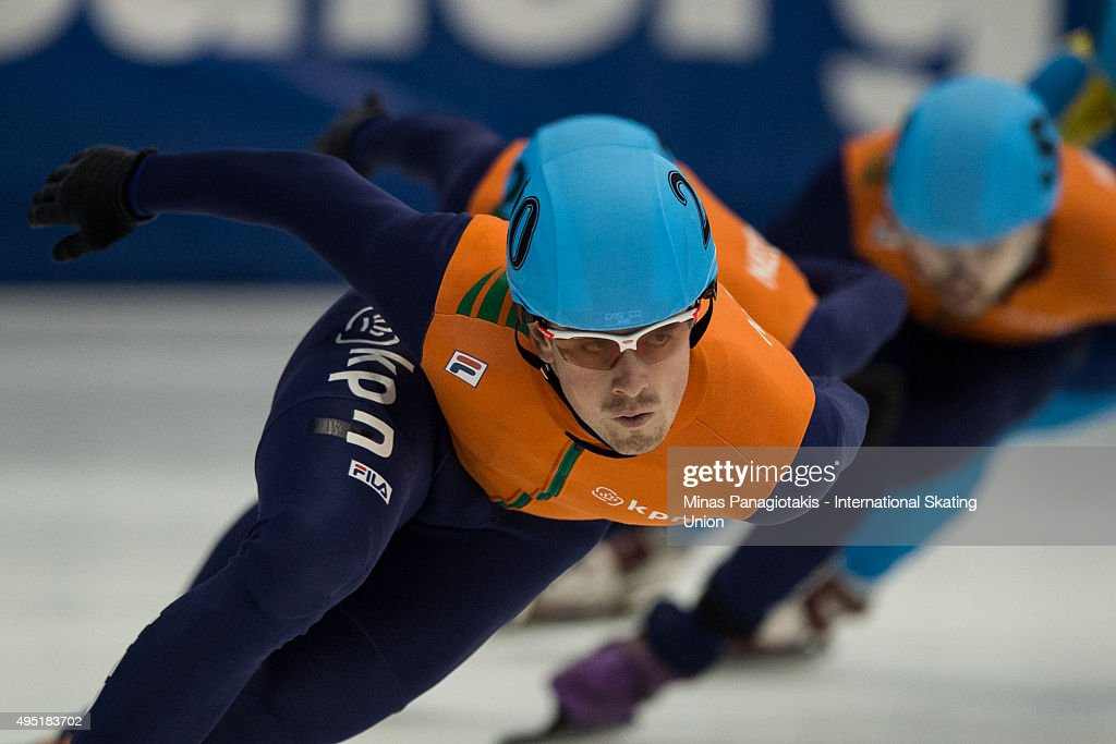 Freek van der Wart of the Netherlands competes on Day 1 of the ISU World Cup Short Track Speed Skating competition at Maurice-Richard Arena on October 31, 2015 in Montreal, Quebec, Canada.