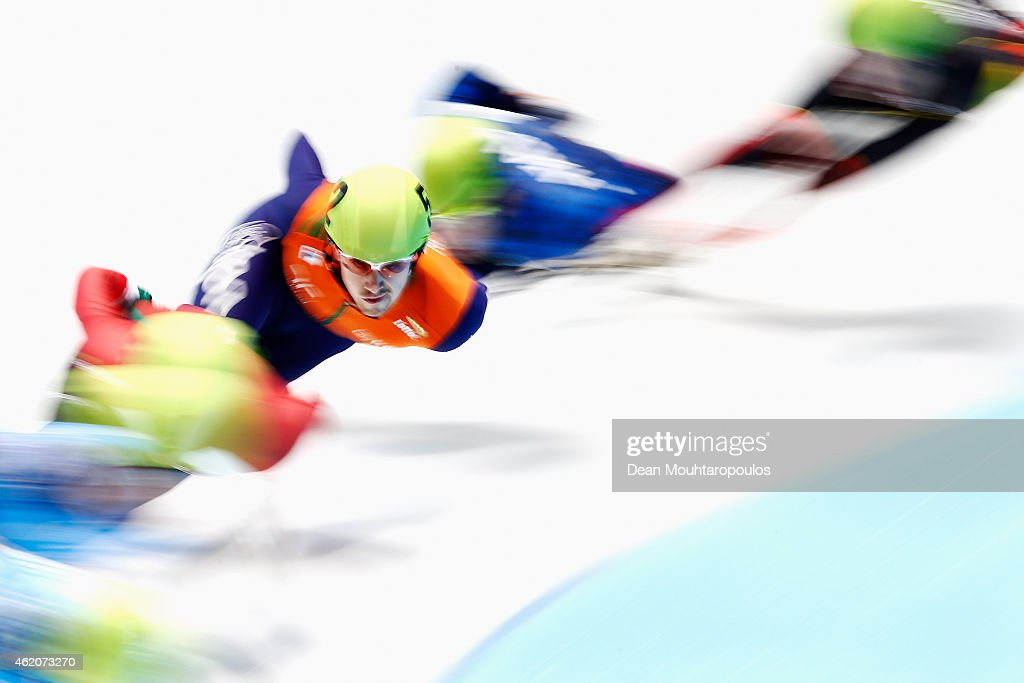 Freek van der Wart of the Netherlands competes the Mens 500m semi final during day 2 of the ISU European Short Track Speed Skating Championships at The Sportboulevard on January 24, 2015 in Dordrecht, Netherlands.