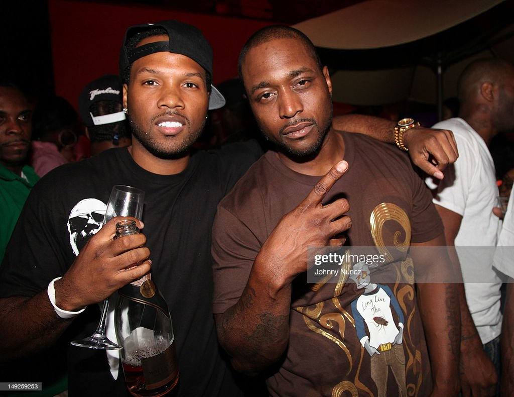 Freekey Zekey (R) and guest attend Danny's Birthday Bash hosted by Jadakiss at the Harlem Beach Club on July 25, 2012 in New York City.