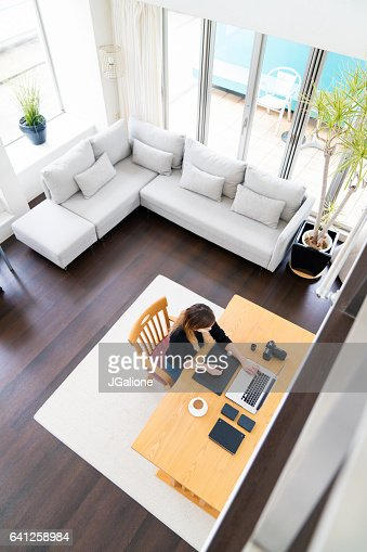Freelance Graphic Designer Working From Home Stock Photo