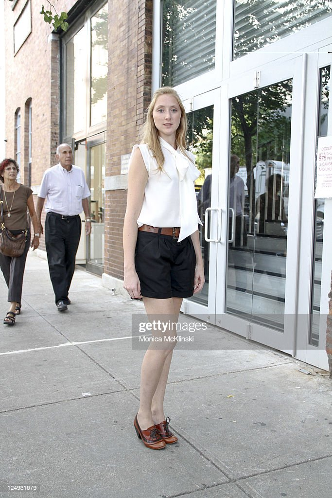 Freelance Public Relations Specialist, Fiona DeGlanville wearing a Hugo Boss top and shorts with Vintage shoes from London arrives for the Theyskens' Theory Showing at Center 548 in Manhattan during Spring 2012 Fashion Week on September 13, 2011 in New York City.