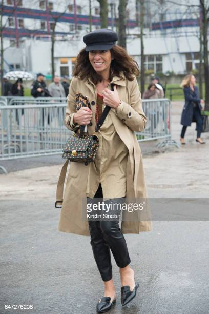 Freelance Stylist Fashion Editor Viviana Volpicella waers a Balnciage trench coat on day 2 during Paris Fashion Week Autumn/Winter 2017/18 on March 1...