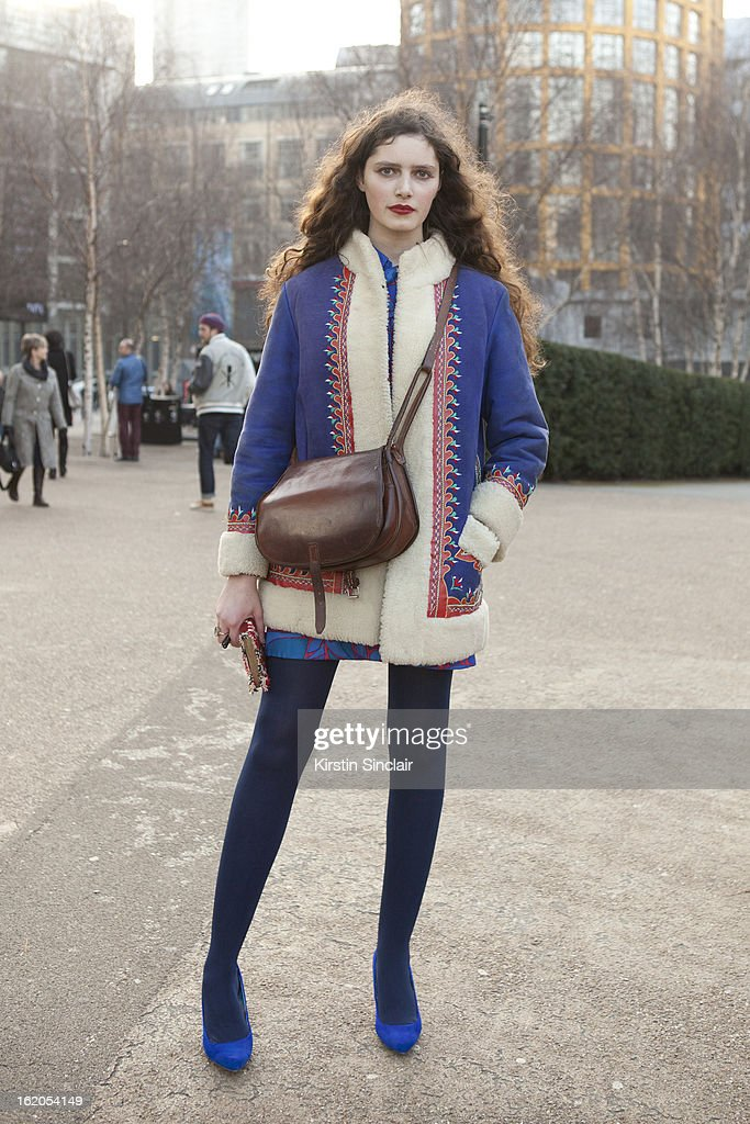 Freelance writer Rosalind Jana wears all vintage, on day 3 of London Womens Fashion Week Autumn/Winter 2013 on February 17, 2013 in London, England.