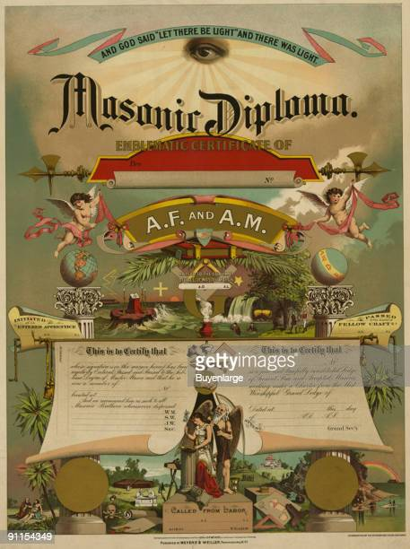 Freemason 'diploma' with blank spaces for an applicant's name date of various achievements and dignitaries signatures accompanied by illustrations of...