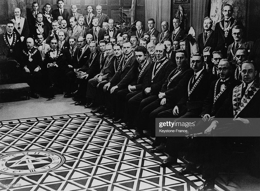 Freemason Meeting In England On The Thirties