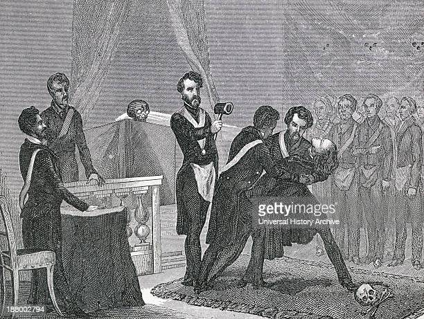 A Freemason Undergoes The Initiation To Master From A 19Th Century Illustration