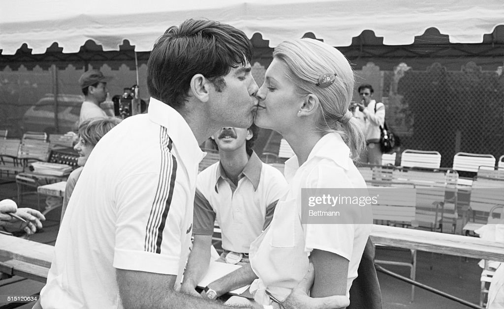 Los Angeles Dodgers' first baseman <a gi-track='captionPersonalityLinkClicked' href=/galleries/search?phrase=Steve+Garvey&family=editorial&specificpeople=210829 ng-click='$event.stopPropagation()'>Steve Garvey</a> gets a kiss from his wife, Cindy, after winning an ABC-TV Superstars tennis match at the Princess Hotel here 11/13. The Garveys had even more reason to be happy. Figures released that day showed Steve's full share of the World Series' losers pot came to almost $21,000.