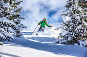 Young male skier skiing in fresh snow through the trees in austrian ski resort