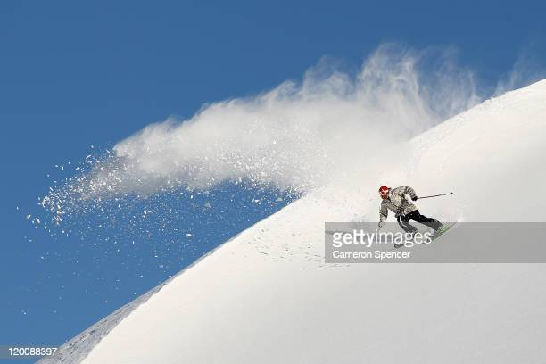 Freeskier Sam Smoothy of New Zealand carves a turn in backcountry near Treble Cone ski resort ahead of the World Heli Challenge on July 30 2011 in...
