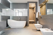 Designed freestanding bath in gray modern bathroom