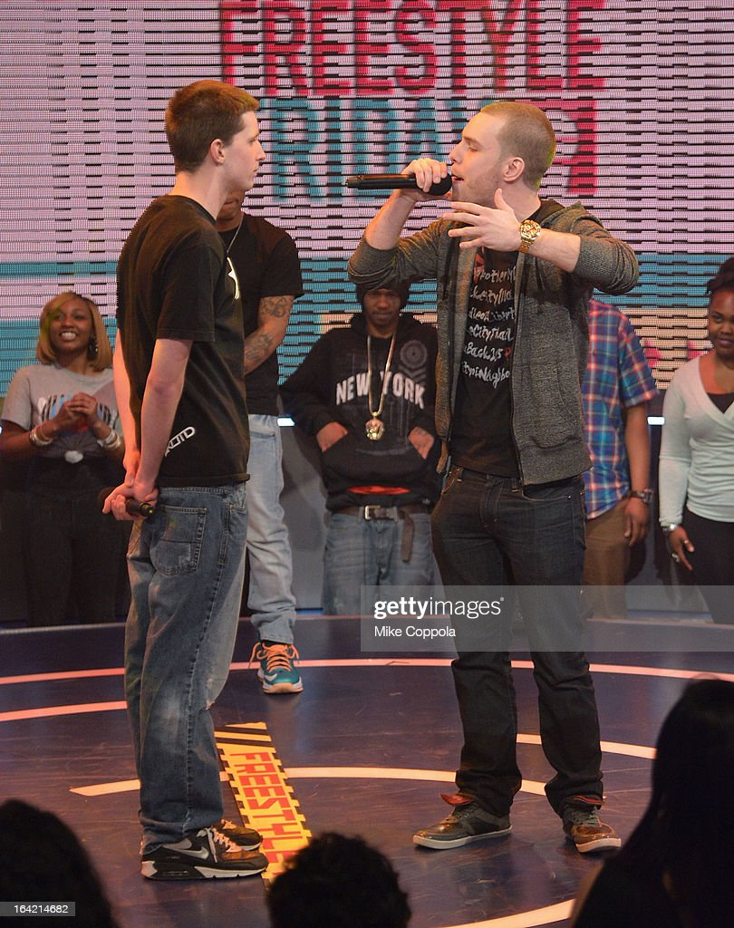 Freestyle contestants compete against each other on BET's 106th & Park at 106 & Park Studio on March 20, 2013 in New York City.