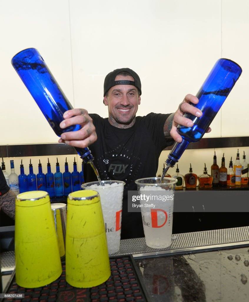 Freestyle motocross rider Carey Hart surprises guests as a bartender in support of Carey Hart's Good Ride Rally benefiting Infinite Hero Foundation at The D Bar, at the D Las Vegas on October 5, 2017 in Las Vegas, Nevada.