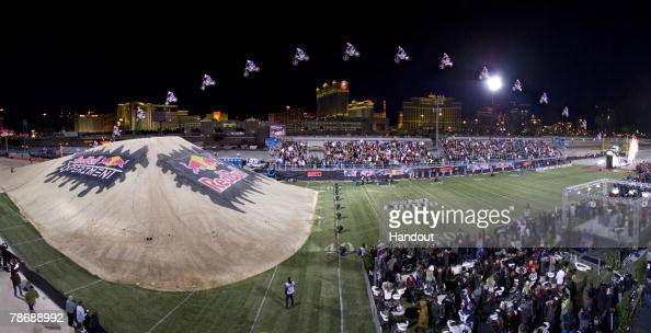 Freestyle motocross rider Robbie Maddison jumps more than 300 feet at the Rio All Suite Hotel Casino December 31 2008 in Las Vegas Nevada